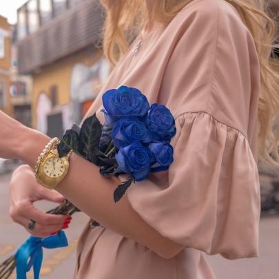 5 Синих Роз Premium (70/80 см.) фото