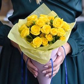 5 Кустовых Желтых Роз (50 см.)