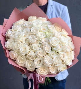 51 Белая Роза (60 см.) фото