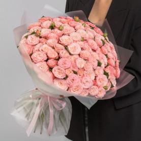 51 Кустовая Пионовидная Персиковая Роза (50 см.) фото