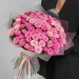 51 Кустовая Пионовидная Розовая Роза (50 см.) фото