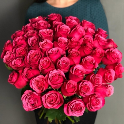 51 Малиновая Роза Эквадор (50/60 см.) фото