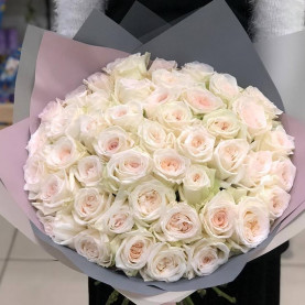 51 Пионовидная Роза White Ohara (50 см.) фото