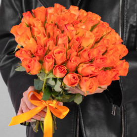 51 Ярко-Оранжевая Роза (40 см.) фото