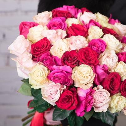 51 Разноцветная Роза Эквадор (50/60 см.) фото
