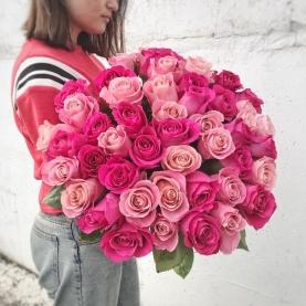 51 Розовая Роза Микс Эквадор (50/60 см.) фото