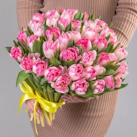 """Букет цветов """"51 розовый пионовидный тюльпан"""" фото"""
