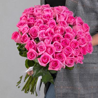 51 Ярко-Розовая Роза (60 см.) фото
