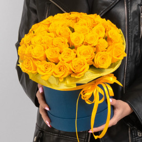 51 Желтая Роза (40 см.) в коробке фото