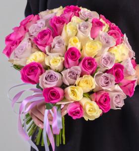 55 Бело-Розово-Сиреневых Роз (30-40 см.) фото