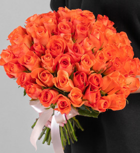 55 Ярко-Оранжевых Роз (30-40 см.) фото