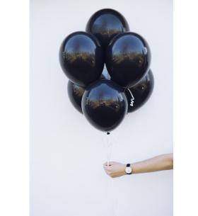 7 Черных Воздушных Шаров (Латекс)