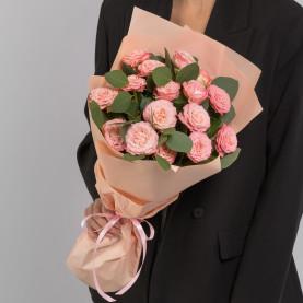 7 Кустовых Пионовидных Персиковых Роз (50 см.) фото