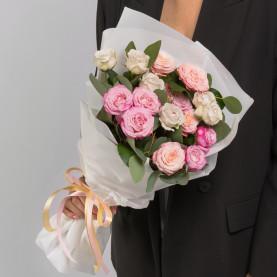7 Кустовых Пионовидных Роз Микс (50 см.) фото