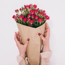 7 Кустовых Малиновых Роз (50 см.) фото