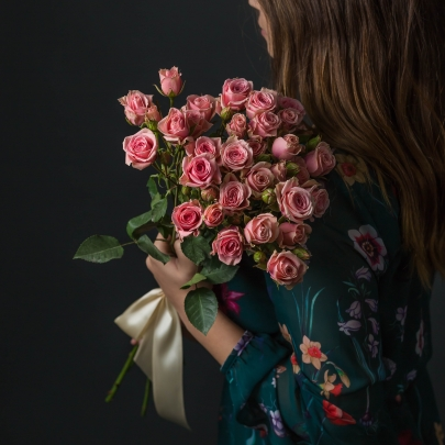 7 Розовых Роз Кустовых фото