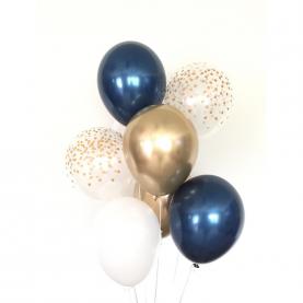 7 Сине-Золотых Воздушных Шаров фото
