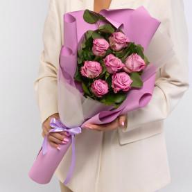 7 Сиреневых Роз (60 см.) фото
