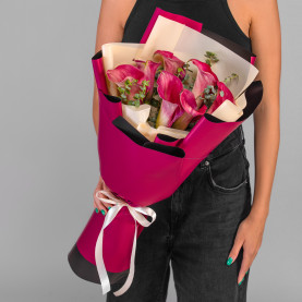 7 Ярко-Розовых Калл фото