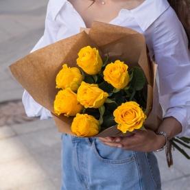 7 Жёлтых Роз Эквадор (70/80 см.) фото