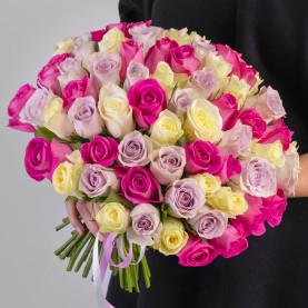 75 Бело-Розово-Сиреневых Роз (30-40 см.) фото