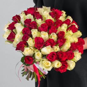 75 Белых и Красных Роз (30-40 см.) фото