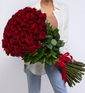 75 Красных Роз (100 см.) фото