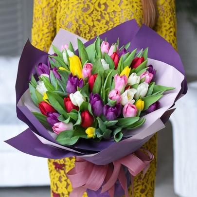 75 Разноцветных Тюльпанов фото