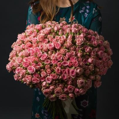75 Розовых Роз Кустовых фото