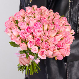 75 Светло-Розовых Роз (30-40 см.) фото