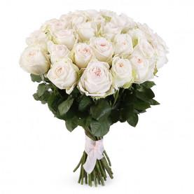 35 Пионовидных Роз White Ohara (50 см.) фото