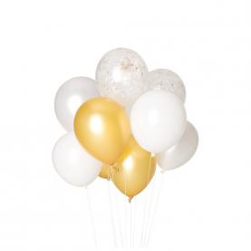 9 Бело-Золотых Воздушных Шаров фото