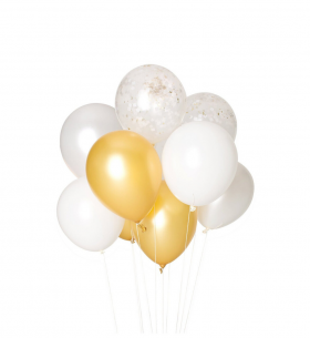 9 Бело-Золотых Воздушных Шаров