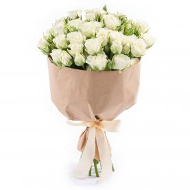 9 Белых Кустовых Роз (50/60 см.) фото