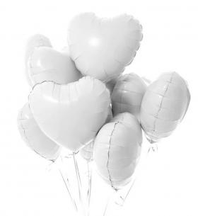 """9 Белых Воздушных Шаров """"Сердце"""""""