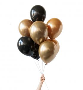 9 Черных и Золотых Воздушных Шаров