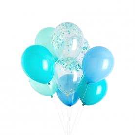 9 Голубых Воздушных Шаров фото