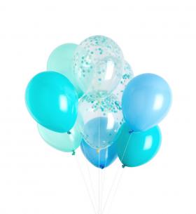 9 Голубых Воздушных Шаров