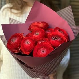 9 Красных Ранункулюсов фото