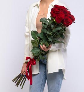 9 Красных Роз (100 см.) фото