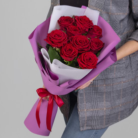 9 Красных Роз (60 см.) фото