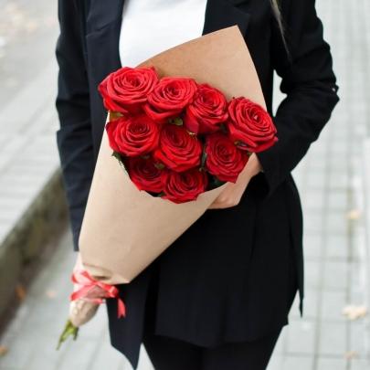 9 Красных Роз Premium (50/60 см.) фото