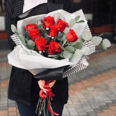 9 Красных Роз (70/80 см.) фото