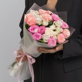 9 Кустовых Пионовидных Роз Микс (50 см.) фото