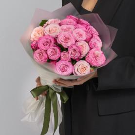 9 Кустовых Пионовидных Розовых Роз (50 см.) фото