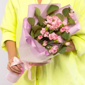 9 Кустовых Розовых Гвоздик фото