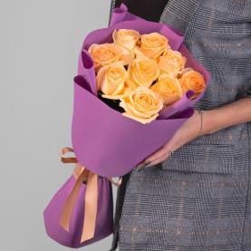 9 Персиковых Роз (50 см.) фото