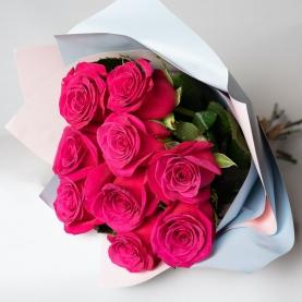 9 Малиновых Роз (60 см.) фото