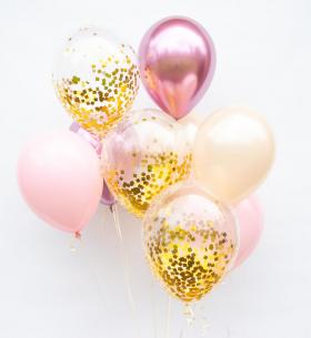 9 Розово-Золотых Воздушных Шаров
