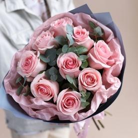 9 Розовых Роз (60 см.) фото